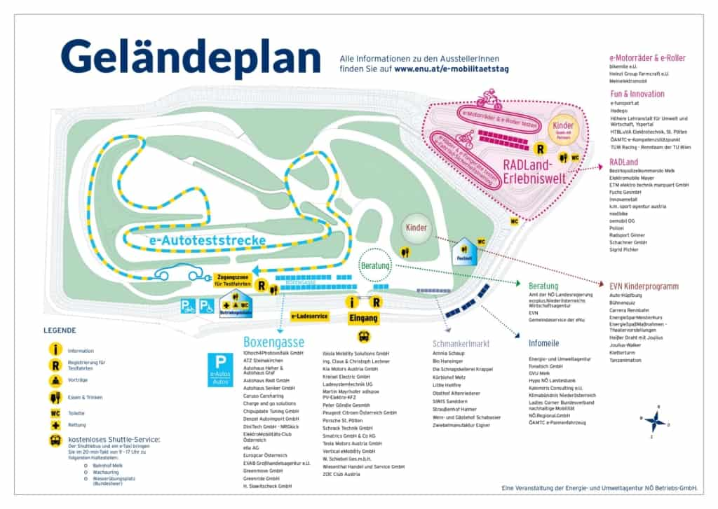 Geländeplan zum E-Mobilitätstag am 26. Mai 2018 am Wachauring